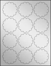 "Sheet of 2.5"" Silver Foil Inkjet labels"