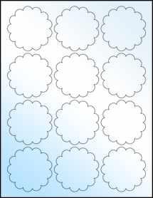 """Sheet of 2.5"""" White Gloss Inkjet labels"""