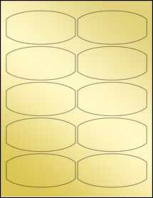 "Sheet of 3.875"" x 1.875"" Gold Foil Laser labels"
