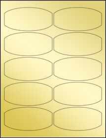 """Sheet of 3.88"""" x 1.88"""" Gold Foil Laser labels"""
