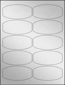 """Sheet of 3.875"""" x 1.875"""" Silver Foil Laser labels"""