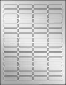 "Sheet of 1.813"" x 0.5"" Silver Foil Inkjet labels"
