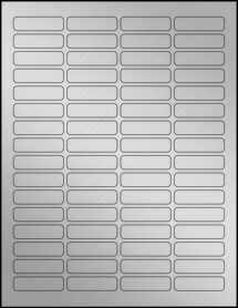 "Sheet of 1.813"" x 0.5"" Weatherproof Silver Polyester Laser labels"