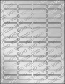 """Sheet of 1.813"""" x 0.5"""" Void Silver Polyester labels"""