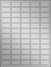 "Sheet of 1.5"" x 0.75"" Weatherproof Silver Polyester Laser labels"