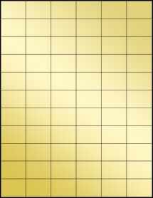 """Sheet of 1.42"""" x 1"""" Gold Foil Inkjet labels"""
