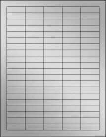 "Sheet of 1.5"" x 0.5"" Weatherproof Silver Polyester Laser labels"