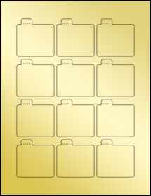 "Sheet of 2.125"" x 2.125"" Gold Foil Inkjet labels"