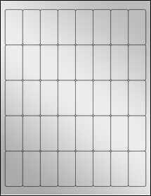 """Sheet of 1"""" x 2"""" Silver Foil Inkjet labels"""