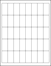 "Sheet of 1"" x 2"" Standard White Matte labels"