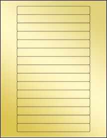 """Sheet of 5.85"""" x 0.6689"""" Gold Foil Laser labels"""