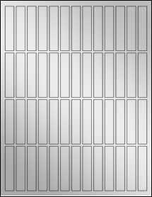 """Sheet of 0.5"""" x 2.5"""" Silver Foil Laser labels"""