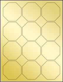 """Sheet of 2.5"""" x 2.5"""" Gold Foil Laser labels"""