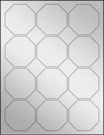"""Sheet of 2.5"""" x 2.5"""" Silver Foil Inkjet labels"""