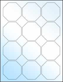 """Sheet of 2.5"""" x 2.5"""" White Gloss Laser labels"""