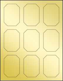 "Sheet of 2.125"" x 3"" Gold Foil Laser labels"