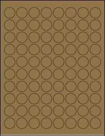 """Sheet of 0.88"""" Circle Brown Kraft labels"""