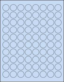 """Sheet of 0.88"""" Circle Pastel Blue labels"""