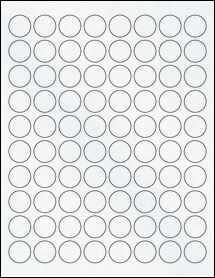 "Sheet of 0.875"" Circle Clear Matte Inkjet labels"