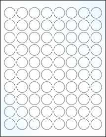 """Sheet of 0.875"""" Circle Clear Gloss Laser labels"""