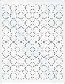 "Sheet of 0.88"" Circle Clear Matte Laser labels"