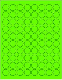 "Sheet of 0.88"" Circle Fluorescent Green labels"