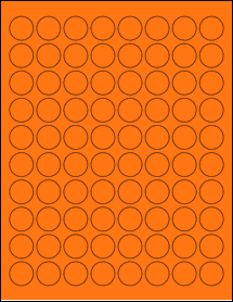 "Sheet of 0.88"" Circle Fluorescent Orange labels"