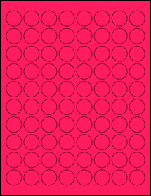 """Sheet of 0.88"""" Circle Fluorescent Pink labels"""