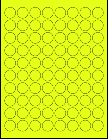 "Sheet of 0.88"" Circle Fluorescent Yellow labels"