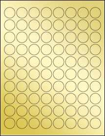 """Sheet of 0.875"""" Circle Gold Foil Laser labels"""