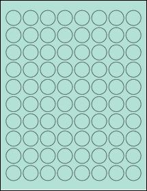 "Sheet of 0.88"" Circle Pastel Green labels"
