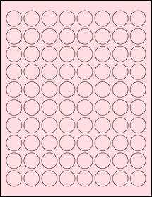 """Sheet of 0.88"""" Circle Pastel Pink labels"""