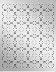 "Sheet of 0.875"" Circle Silver Foil Inkjet labels"