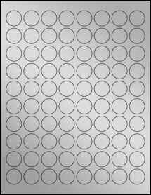 "Sheet of 0.875"" Circle Weatherproof Silver Polyester Laser labels"