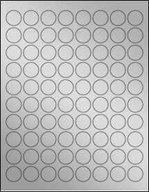 "Sheet of 0.88"" Circle Weatherproof Silver Polyester Laser labels"