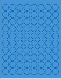 "Sheet of 0.88"" Circle True Blue labels"