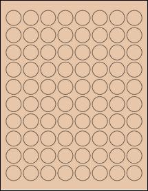 "Sheet of 0.88"" Circle Light Tan labels"