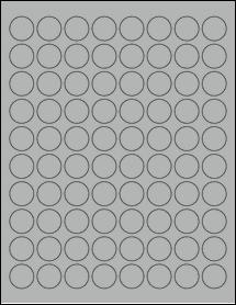 "Sheet of 0.88"" Circle True Gray labels"
