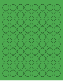 "Sheet of 0.88"" Circle True Green labels"