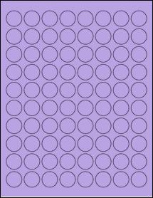"Sheet of 0.88"" Circle True Purple labels"