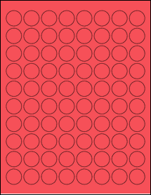 "Sheet of 0.88"" Circle True Red labels"