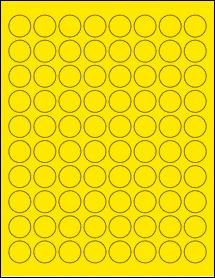 "Sheet of 0.88"" Circle True Yellow labels"