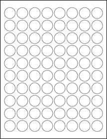 "Sheet of 0.88"" Circle Removable White Matte labels"