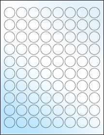 "Sheet of 0.88"" Circle White Gloss Laser labels"