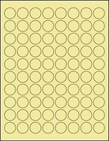 """Sheet of 0.88"""" Circle Pastel Yellow labels"""