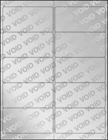 "Sheet of 4"" x 2"" Void Silver Polyester labels"