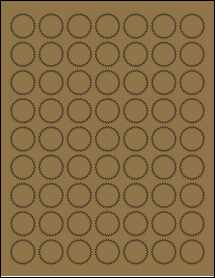 """Sheet of 1"""" Starburst Brown Kraft labels"""