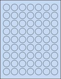 "Sheet of 1"" Starburst Pastel Blue labels"