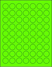 "Sheet of 1"" Starburst Fluorescent Green labels"