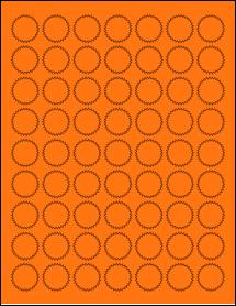 "Sheet of 1"" Starburst Fluorescent Orange labels"